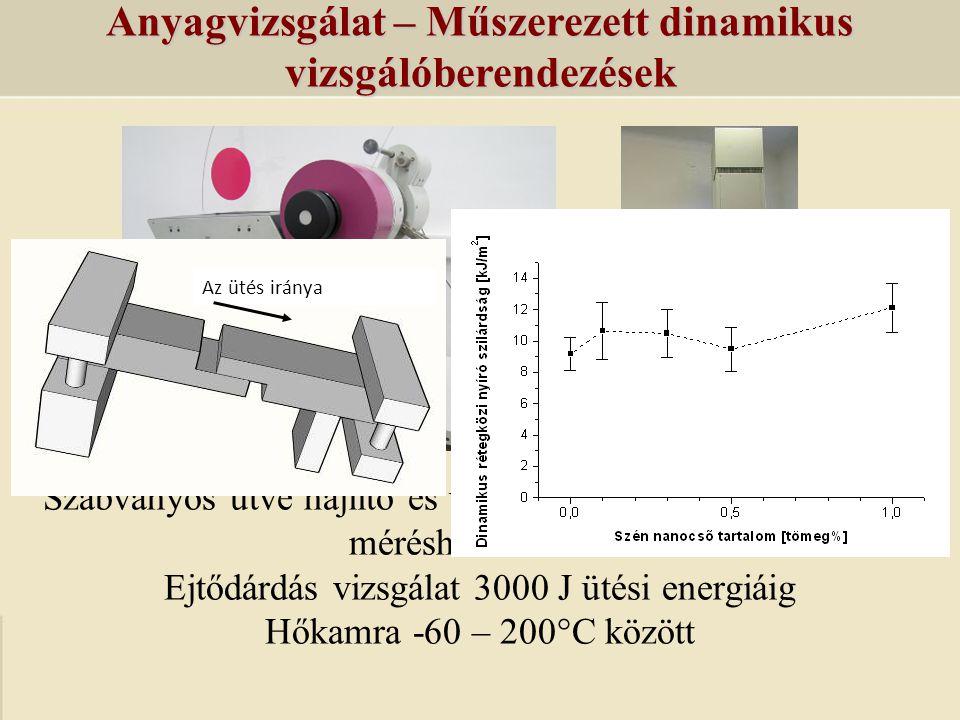 Anyagvizsgálat – Műszerezett dinamikus vizsgálóberendezések Szabványos ütve hajlító és ütve szakító vizsgálatok 2 -25 J méréshatár között Ejtődárdás v