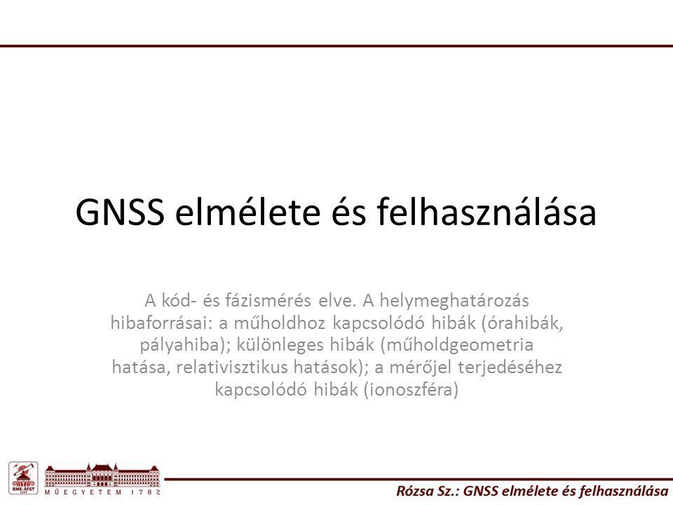 GNSS elmélete és felhasználása A kód- és fázismérés elve. A helymeghatározás hibaforrásai: a műholdhoz kapcsolódó hibák (órahibák, pályahiba); különle
