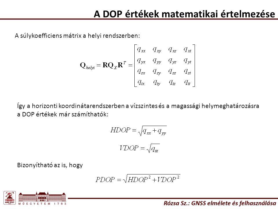 A DOP értékek matematikai értelmezése A súlykoefficiens mátrix a helyi rendszerben: Így a horizonti koordinátarendszerben a vízszintes és a magassági