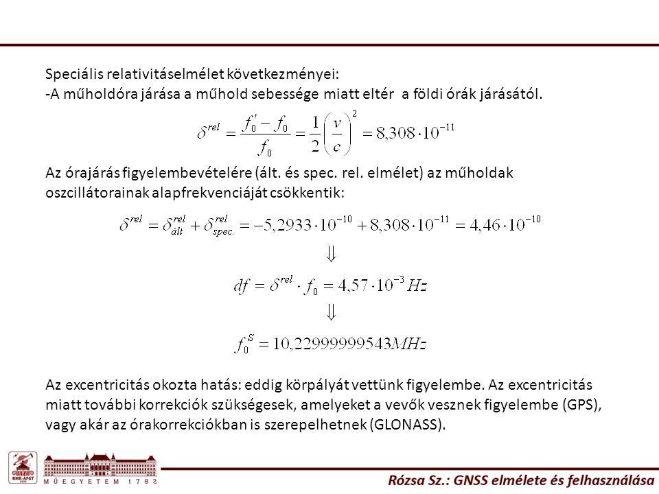 Speciális relativitáselmélet következményei: -A műholdóra járása a műhold sebessége miatt eltér a földi órák járásától. Az órajárás figyelembevételére