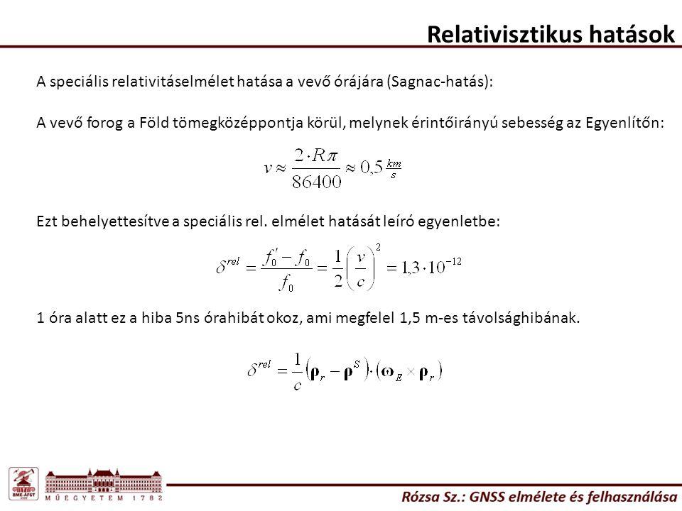Relativisztikus hatások A speciális relativitáselmélet hatása a vevő órájára (Sagnac-hatás): A vevő forog a Föld tömegközéppontja körül, melynek érint