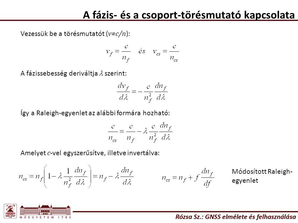 A fázis- és a csoport-törésmutató kapcsolata Vezessük be a törésmutatót ( v=c/n ): A fázissebesség deriváltja szerint: Így a Raleigh-egyenlet az alább