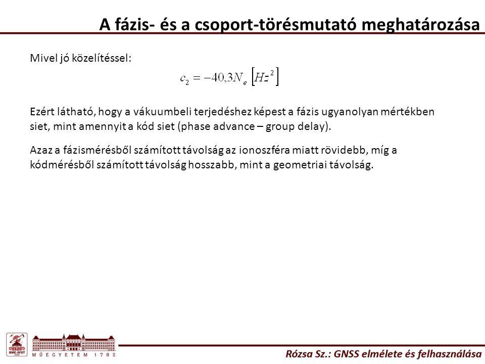 A fázis- és a csoport-törésmutató meghatározása Mivel jó közelítéssel: Ezért látható, hogy a vákuumbeli terjedéshez képest a fázis ugyanolyan mértékbe