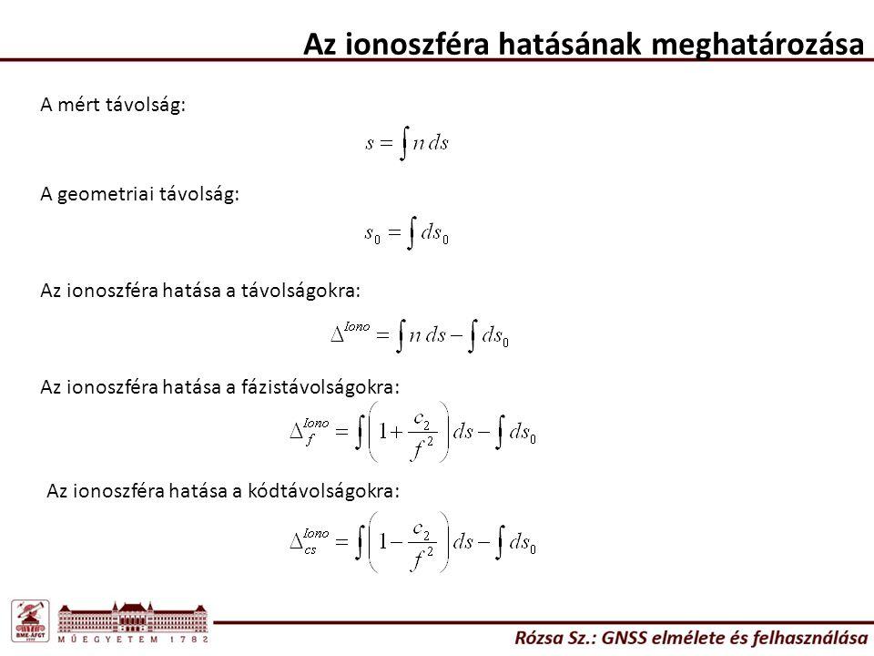 Az ionoszféra hatásának meghatározása A mért távolság: A geometriai távolság: Az ionoszféra hatása a távolságokra: Az ionoszféra hatása a fázistávolsá