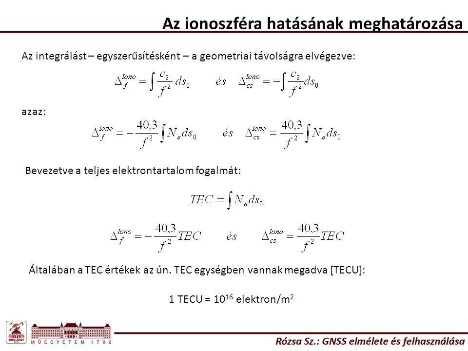 Az ionoszféra hatásának meghatározása Az integrálást – egyszerűsítésként – a geometriai távolságra elvégezve: azaz: Bevezetve a teljes elektrontartalo