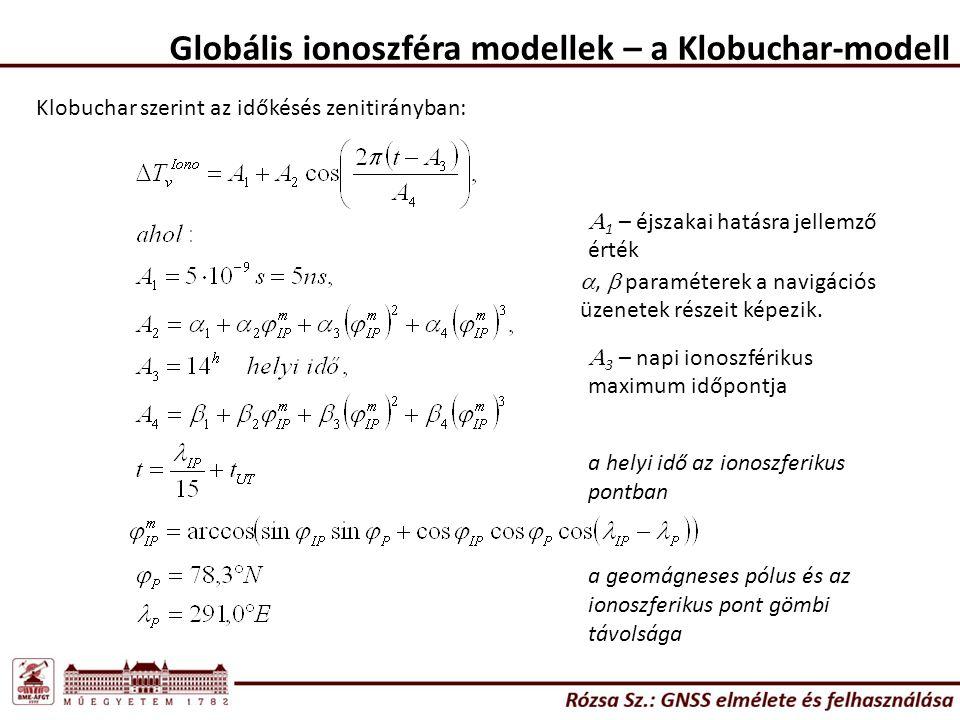 Globális ionoszféra modellek – a Klobuchar-modell Klobuchar szerint az időkésés zenitirányban: ,  paraméterek a navigációs üzenetek részeit képezik.