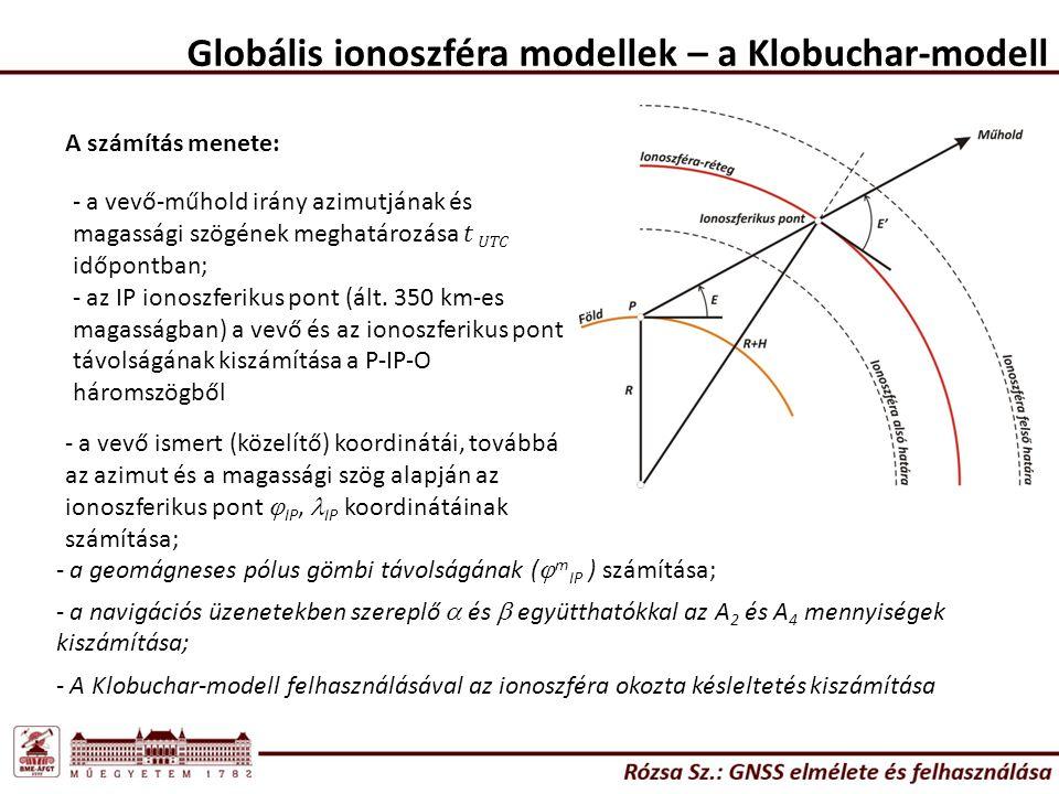 Globális ionoszféra modellek – a Klobuchar-modell A számítás menete: - a vevő ismert (közelítő) koordinátái, továbbá az azimut és a magassági szög ala