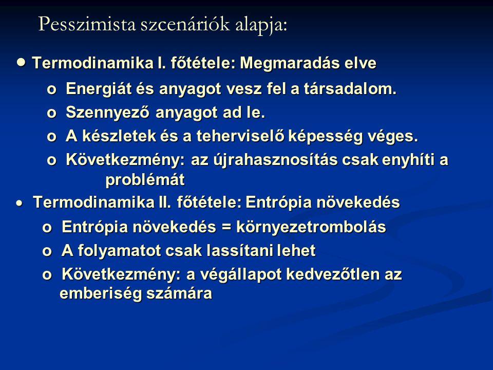 Pesszimista szcenáriók alapja:  Termodinamika I. főtétele: Megmaradás elve  Termodinamika I.