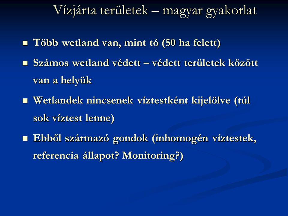 Vízjárta területek – magyar gyakorlat Több wetland van, mint tó (50 ha felett) Több wetland van, mint tó (50 ha felett) Számos wetland védett – védett területek között van a helyük Számos wetland védett – védett területek között van a helyük Wetlandek nincsenek víztestként kijelölve (túl sok víztest lenne) Wetlandek nincsenek víztestként kijelölve (túl sok víztest lenne) Ebből származó gondok (inhomogén víztestek, referencia állapot.