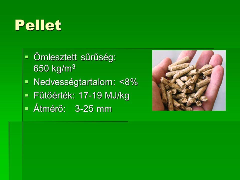Pellet  Ömlesztett sűrűség: 650 kg/m 3  Nedvességtartalom: <8%  Fűtőérték: 17-19 MJ/kg  Átmérő: 3-25 mm