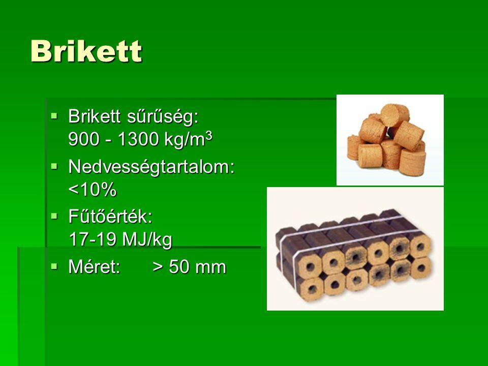 Brikett  Brikett sűrűség: 900 - 1300 kg/m 3  Nedvességtartalom: <10%  Fűtőérték: 17-19 MJ/kg  Méret: > 50 mm