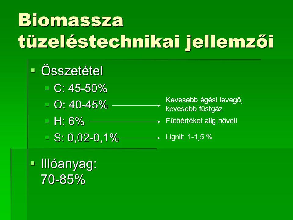 Biomassza tüzeléstechnikai jellemzői  Összetétel  C: 45-50%  O: 40-45%  H: 6%  S: 0,02-0,1%  Illóanyag: 70-85% Kevesebb égési levegő, kevesebb f