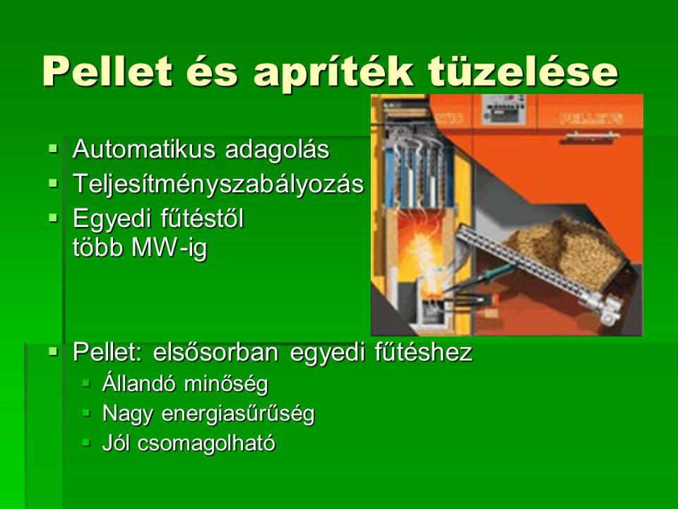 Pellet és apríték tüzelése  Automatikus adagolás  Teljesítményszabályozás  Egyedi fűtéstől több MW-ig  Pellet: elsősorban egyedi fűtéshez  Álland