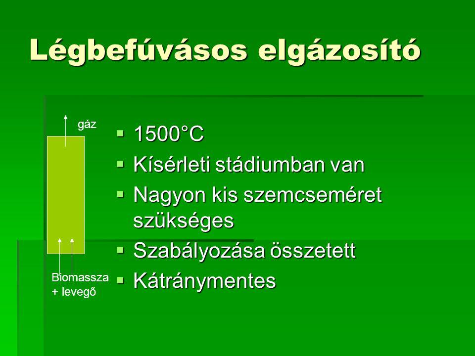 Légbefúvásos elgázosító  1500°C  Kísérleti stádiumban van  Nagyon kis szemcseméret szükséges  Szabályozása összetett  Kátránymentes gáz Biomassza