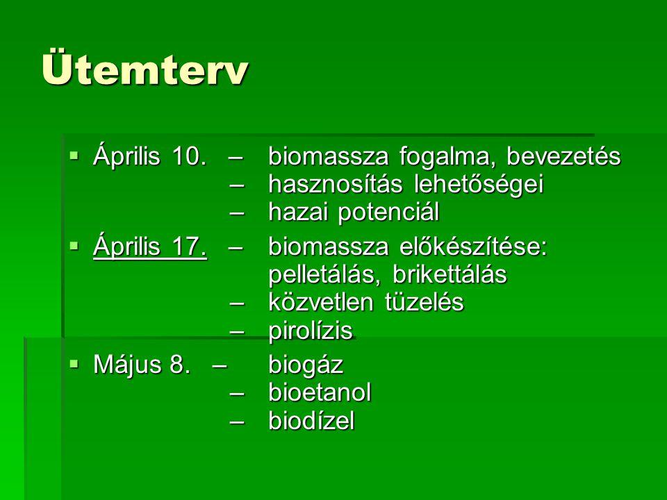 Ütemterv  Április 10. – biomassza fogalma, bevezetés –hasznosítás lehetőségei –hazai potenciál  Április 17. – biomassza előkészítése: pelletálás, br