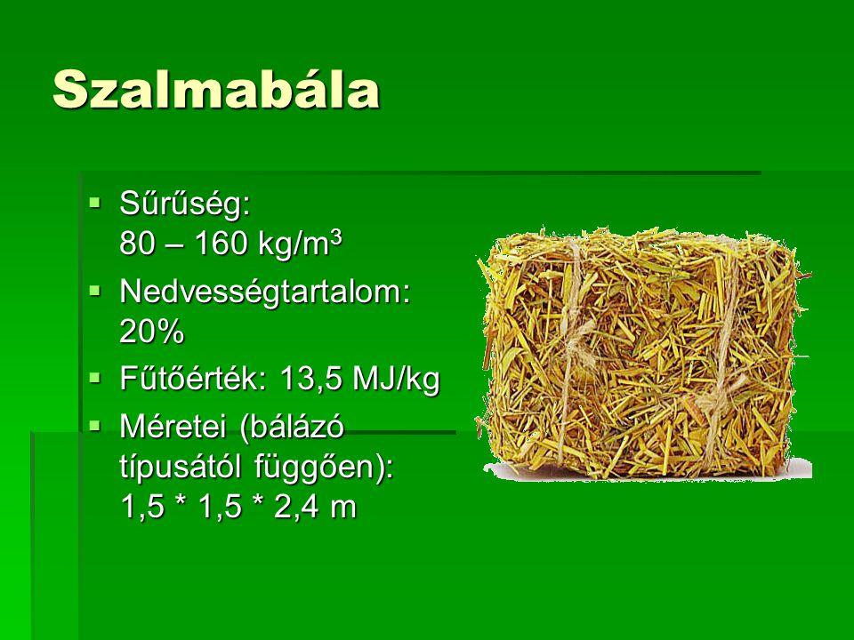 Szalmabála  Sűrűség: 80 – 160 kg/m 3  Nedvességtartalom: 20%  Fűtőérték: 13,5 MJ/kg  Méretei (bálázó típusától függően): 1,5 * 1,5 * 2,4 m