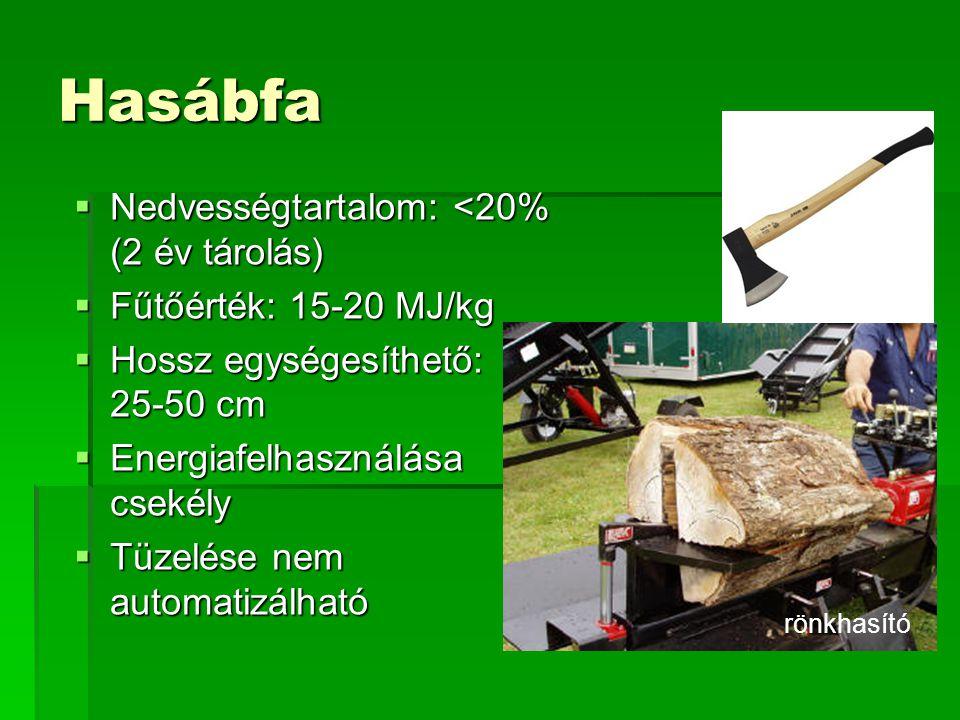 Hasábfa  Nedvességtartalom: <20% (2 év tárolás)  Fűtőérték: 15-20 MJ/kg  Hossz egységesíthető: 25-50 cm  Energiafelhasználása csekély  Tüzelése n
