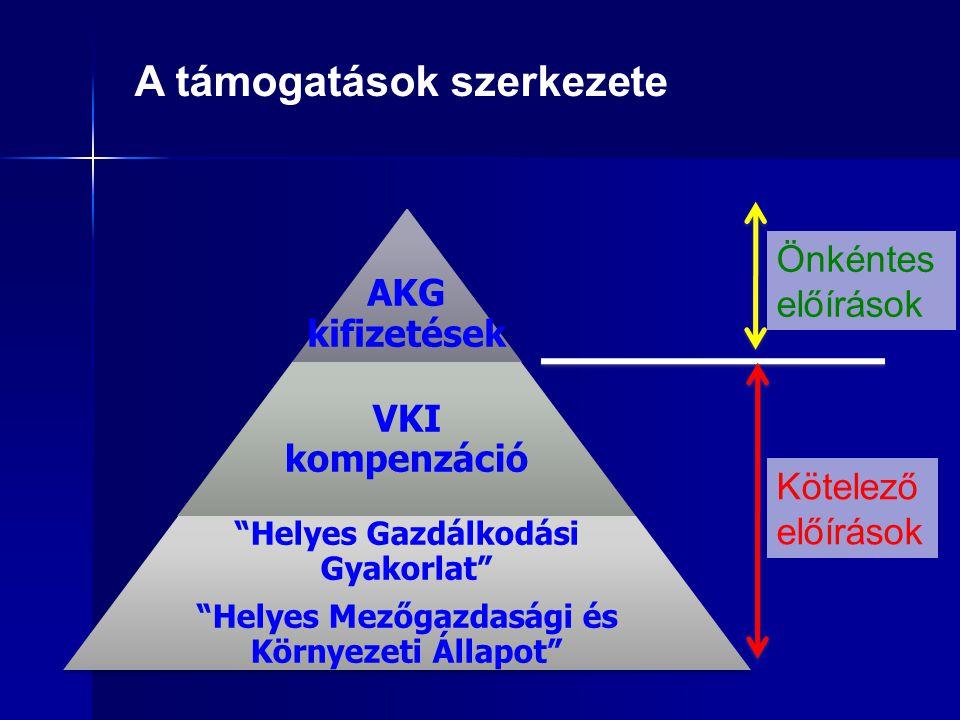 """A támogatások szerkezete AKG kifizetések VKI kompenzáció """"Helyes Gazdálkodási Gyakorlat"""" """"Helyes Mezőgazdasági és Környezeti Állapot"""" Kötelező előírás"""