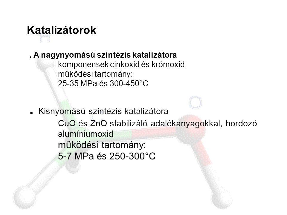 Katalizátorok. A nagynyomású szintézis katalizátora komponensek cinkoxid és krómoxid, működési tartomány: 25-35 MPa és 300-450°C. Kisnyomású szintézis
