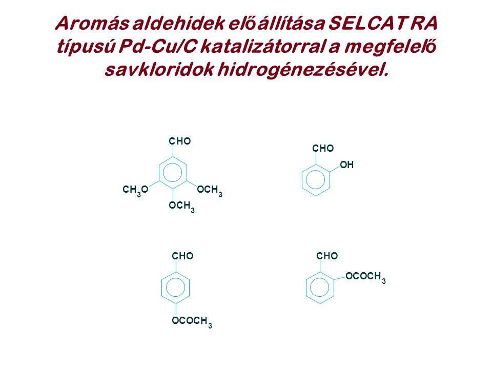 Aromás aldehidek el ő állítása SELCAT RA típusú Pd-Cu/C katalizátorral a megfelel ő savkloridok hidrogénezésével. CHO OCH 3 CH 3 O OCH 3 CHO OH CHO OC