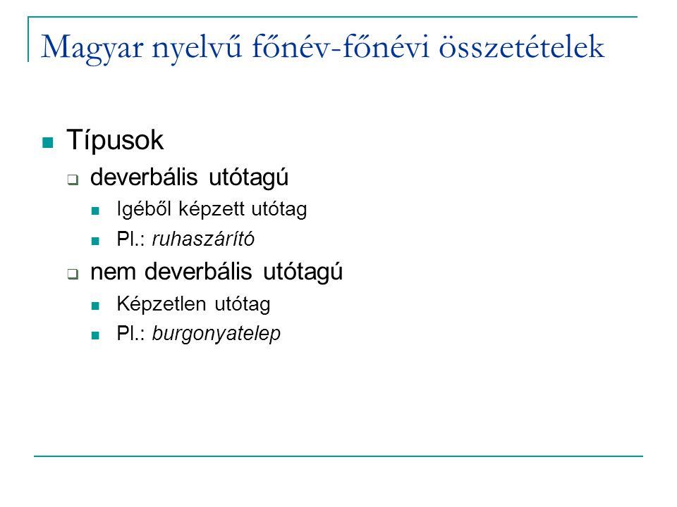 Diszkusszió – ismert alakok Nincs RI-különbség a két típus között  Teljes dekompozíció hiánya a deverbális típusnál ruhaszárító: ruha + szárító zongoralecke: zongora + lecke Priming hiánya a deverbális típusnál  Az igéhez nincs hozzáférés Priming a nem deverbális típusnál  Morfológiai dekompozíció