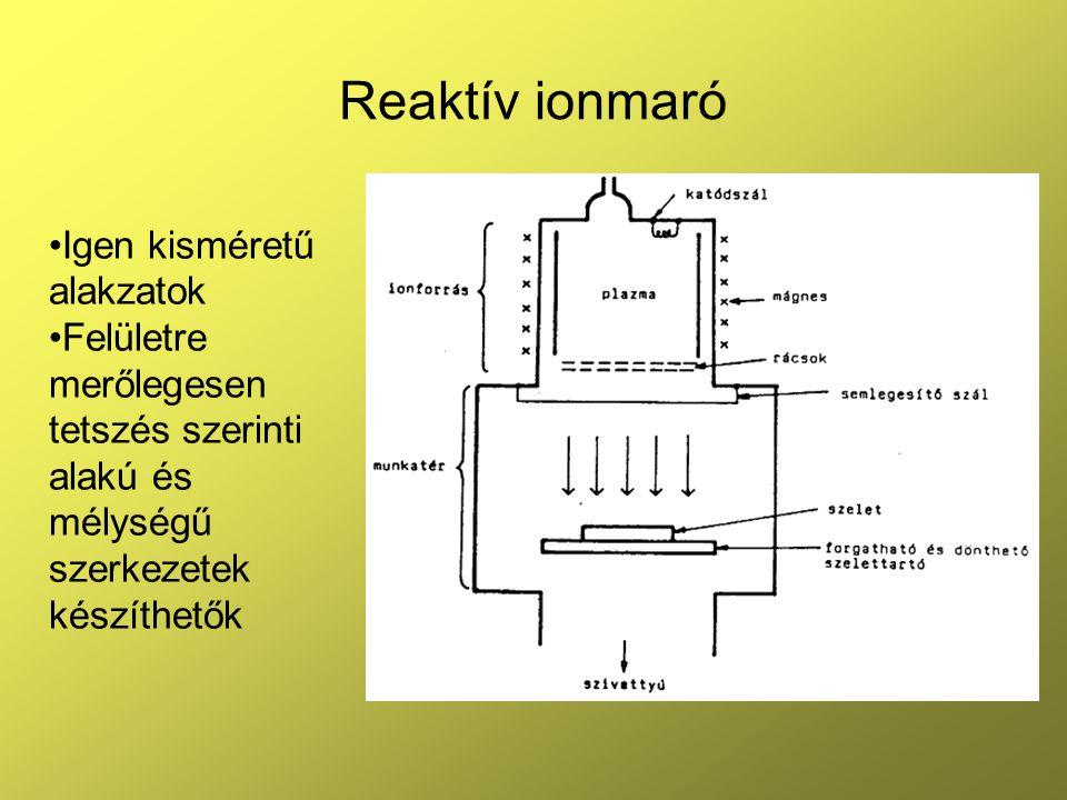 Reaktív ionmaró Igen kisméretű alakzatok Felületre merőlegesen tetszés szerinti alakú és mélységű szerkezetek készíthetők