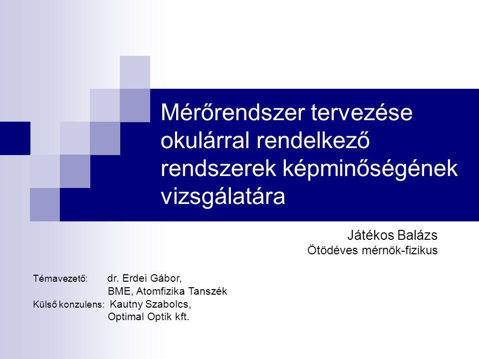 Mérőrendszer tervezése okulárral rendelkező rendszerek képminőségének vizsgálatára Játékos Balázs Ötödéves mérnök-fizikus Témavezető: dr. Erdei Gábor,