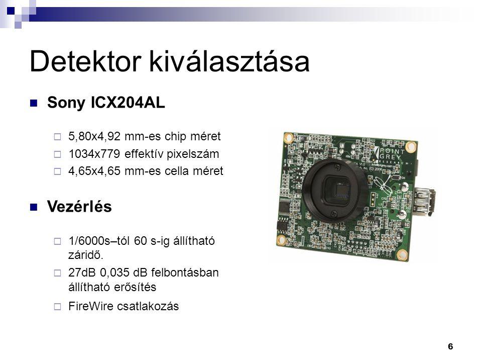 6 Detektor kiválasztása Sony ICX204AL  5,80x4,92 mm-es chip méret  1034x779 effektív pixelszám  4,65x4,65 mm-es cella méret Vezérlés  1/6000s–tól