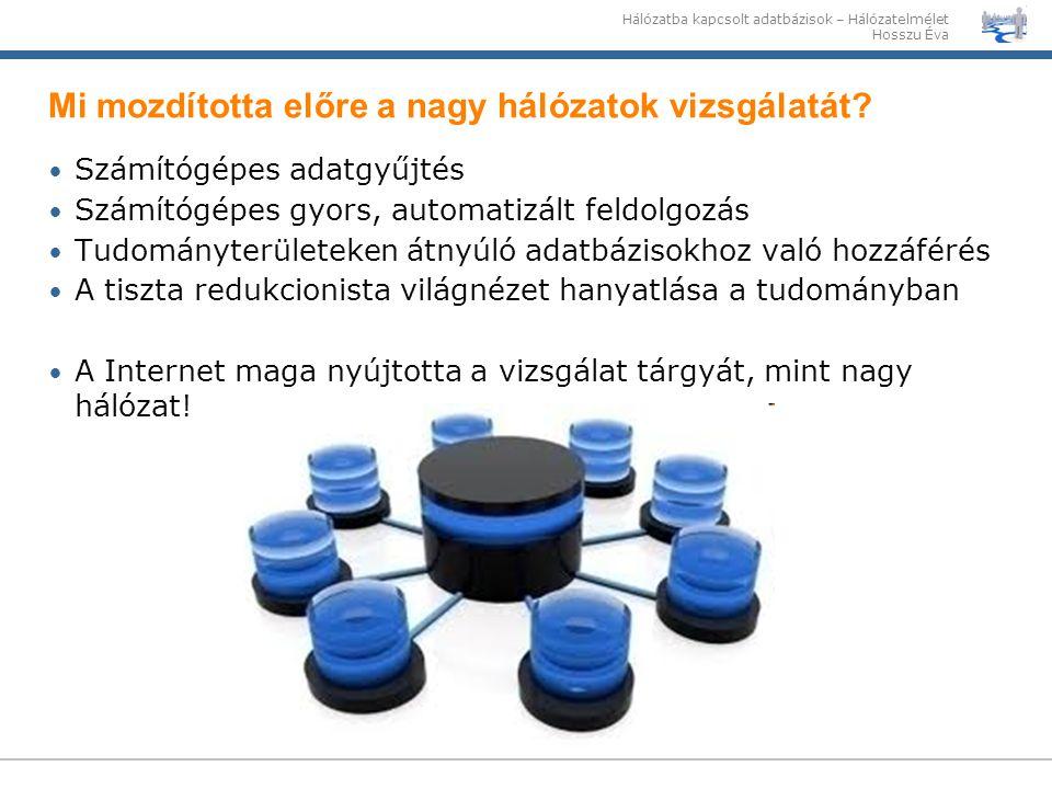Hálózatba kapcsolt adatbázisok – Hálózatelmélet Hosszu Éva Mi mozdította előre a nagy hálózatok vizsgálatát? Számítógépes adatgyűjtés Számítógépes gyo