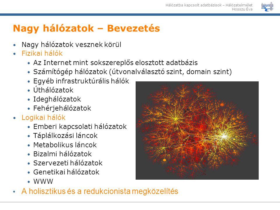 Hálózatba kapcsolt adatbázisok – Hálózatelmélet Hosszu Éva Nagy hálózatok – Bevezetés Nagy hálózatok vesznek körül Fizikai hálók Az Internet mint soks