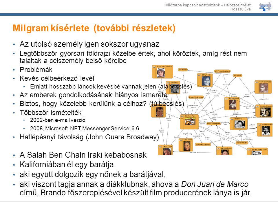 Hálózatba kapcsolt adatbázisok – Hálózatelmélet Hosszu Éva Milgram kísérlete (további részletek) Az utolsó személy igen sokszor ugyanaz Legtöbbször gy
