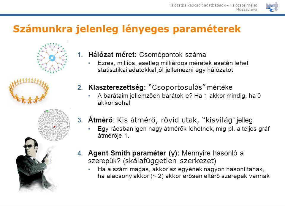 Hálózatba kapcsolt adatbázisok – Hálózatelmélet Hosszu Éva Számunkra jelenleg lényeges paraméterek 1. Hálózat méret: Csomópontok száma Ezres, milliós,