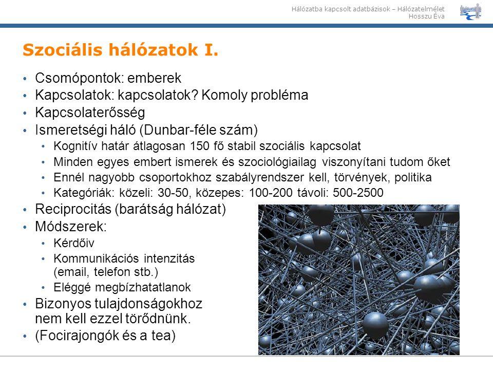 Hálózatba kapcsolt adatbázisok – Hálózatelmélet Hosszu Éva Szociális hálózatok I. Csomópontok: emberek Kapcsolatok: kapcsolatok? Komoly probléma Kapcs