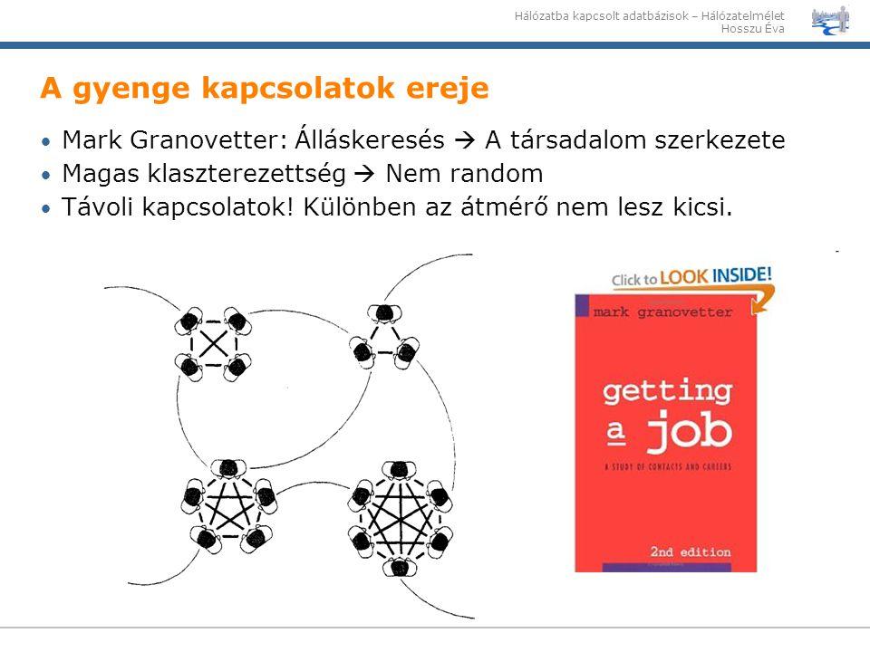 Hálózatba kapcsolt adatbázisok – Hálózatelmélet Hosszu Éva Mark Granovetter: Álláskeresés  A társadalom szerkezete Magas klaszterezettség  Nem rando