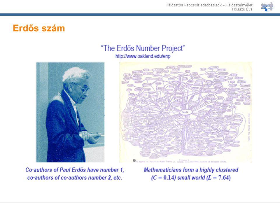 Hálózatba kapcsolt adatbázisok – Hálózatelmélet Hosszu Éva Erdős szám
