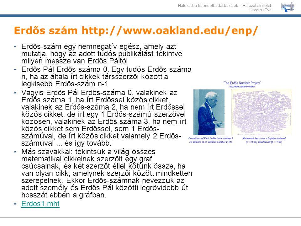 Hálózatba kapcsolt adatbázisok – Hálózatelmélet Hosszu Éva Erdős szám http://www.oakland.edu/enp/ Erdős-sz á m egy nemnegat í v eg é sz, amely azt mut