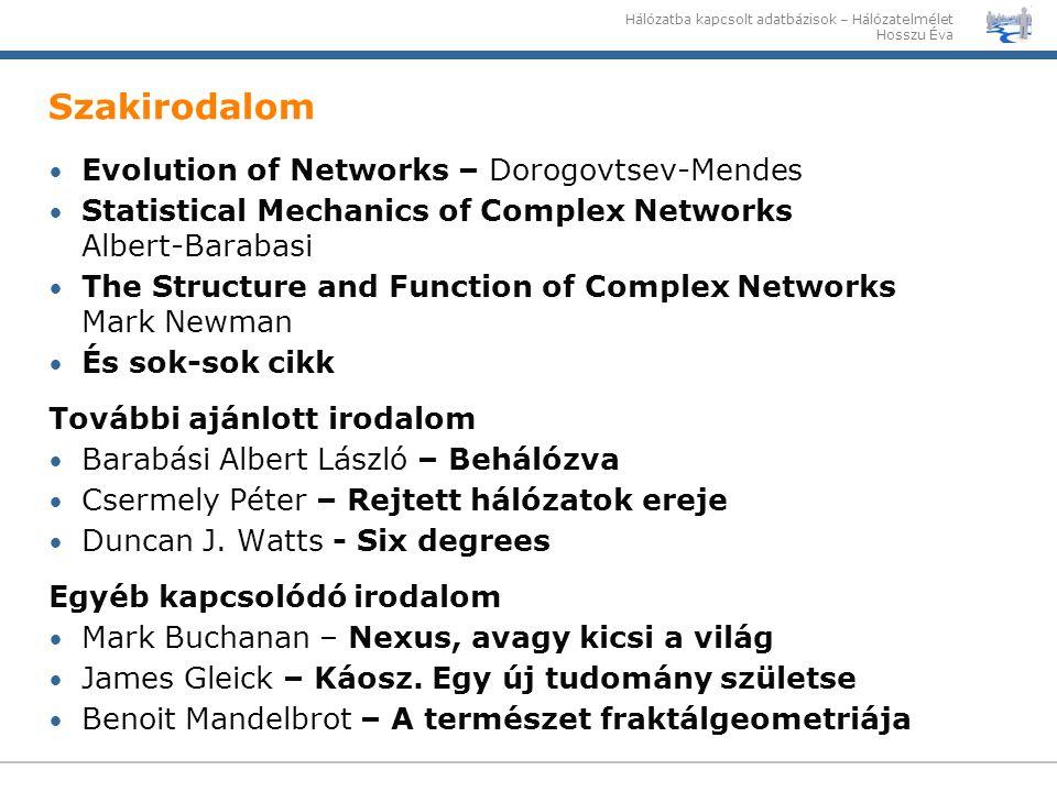Hálózatba kapcsolt adatbázisok – Hálózatelmélet Hosszu Éva Szakirodalom Evolution of Networks – Dorogovtsev-Mendes Statistical Mechanics of Complex Ne