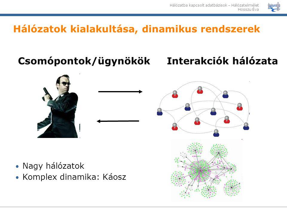 Hálózatba kapcsolt adatbázisok – Hálózatelmélet Hosszu Éva Hálózatok kialakultása, dinamikus rendszerek Csomópontok/ügynökök Interakciók hálózata Nagy
