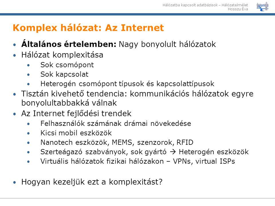 Hálózatba kapcsolt adatbázisok – Hálózatelmélet Hosszu Éva Komplex hálózat: Az Internet Általános értelemben: Nagy bonyolult hálózatok Hálózat komplex
