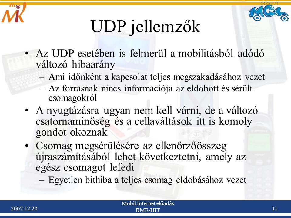 2007.12.20 Mobil Internet előadás BME-HIT 11 UDP jellemzők Az UDP esetében is felmerül a mobilitásból adódó változó hibaarány –Ami időnként a kapcsola