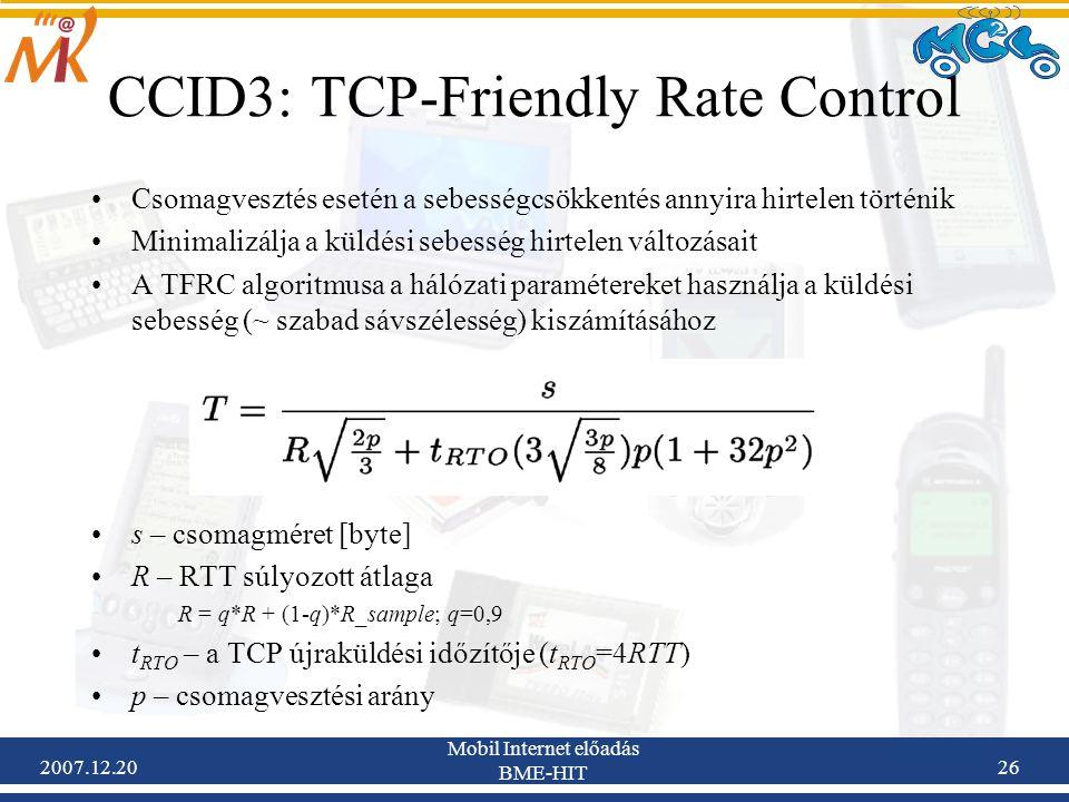 2007.12.20 Mobil Internet előadás BME-HIT 26 CCID3: TCP-Friendly Rate Control Csomagvesztés esetén a sebességcsökkentés annyira hirtelen történik Mini