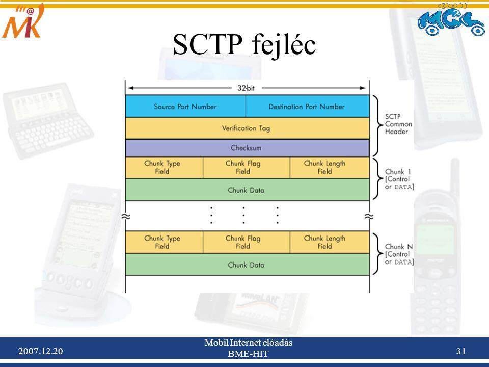 2007.12.20 Mobil Internet előadás BME-HIT 31 SCTP fejléc