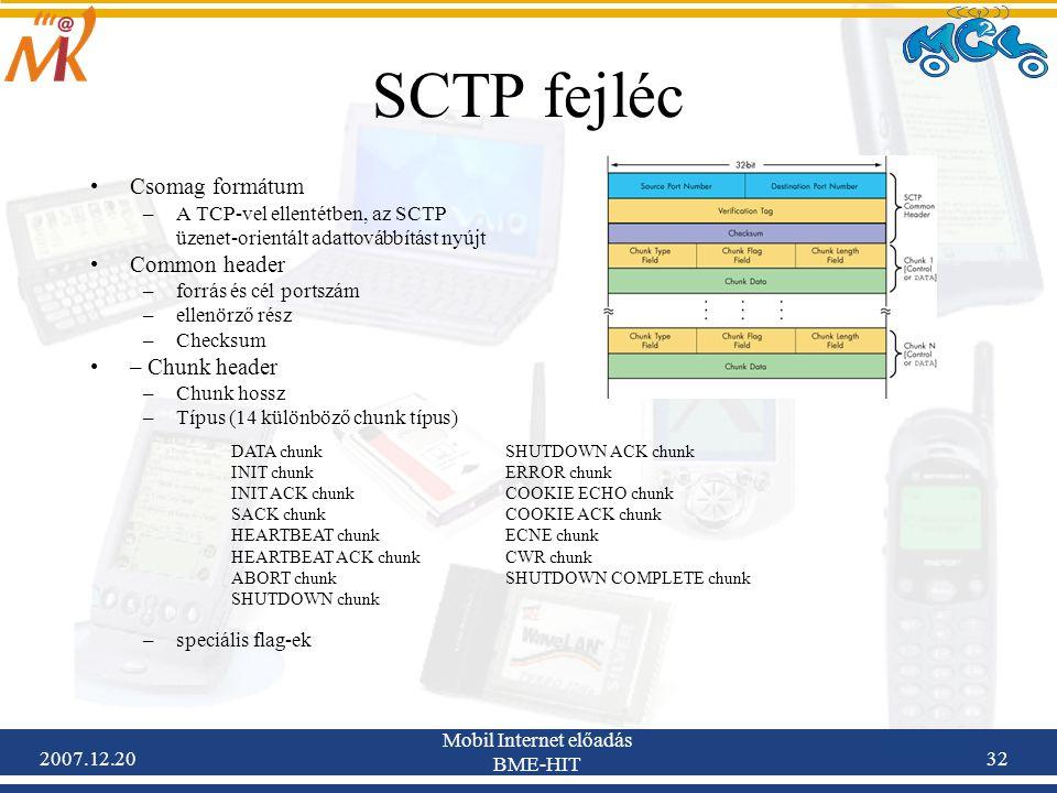 2007.12.20 Mobil Internet előadás BME-HIT 32 SCTP fejléc Csomag formátum –A TCP-vel ellentétben, az SCTP üzenet-orientált adattovábbítást nyújt Common