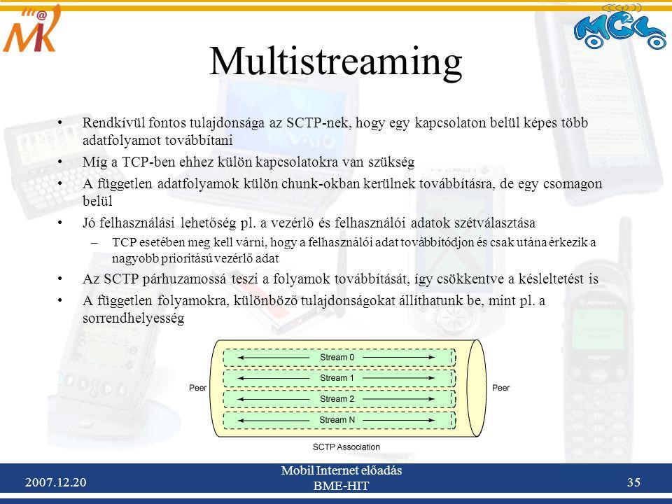 2007.12.20 Mobil Internet előadás BME-HIT 35 Multistreaming Rendkívül fontos tulajdonsága az SCTP-nek, hogy egy kapcsolaton belül képes több adatfolya