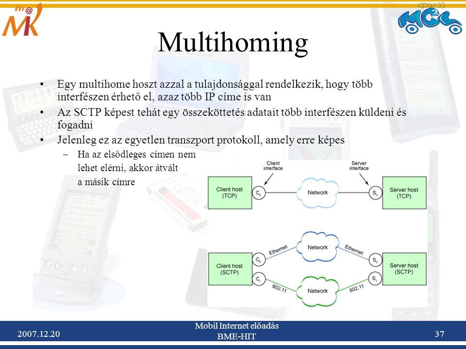 2007.12.20 Mobil Internet előadás BME-HIT 37 Multihoming Egy multihome hoszt azzal a tulajdonsággal rendelkezik, hogy több interfészen érhető el, azaz