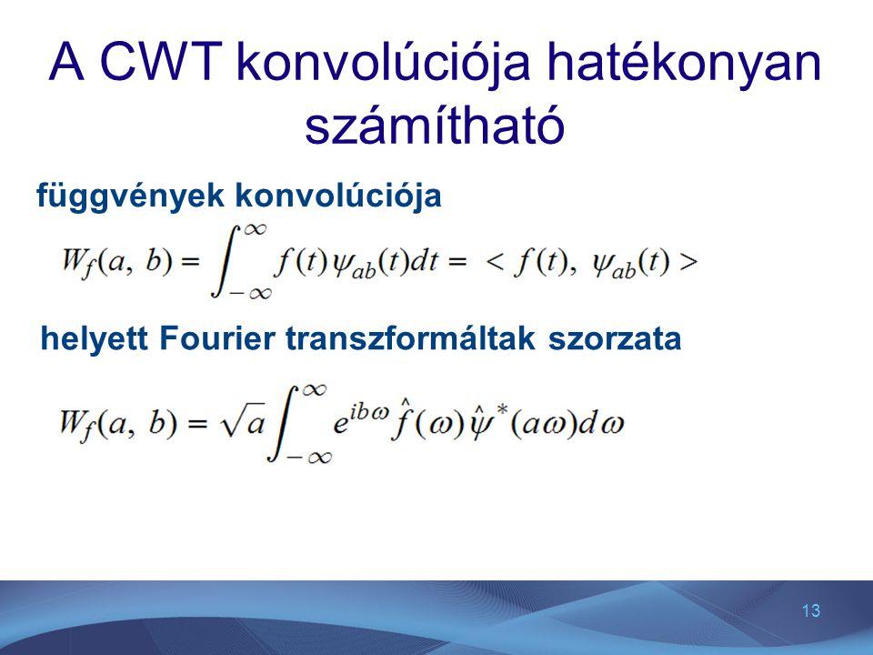 13 A CWT konvolúciója hatékonyan számítható függvények konvolúciója helyett Fourier transzformáltak szorzata