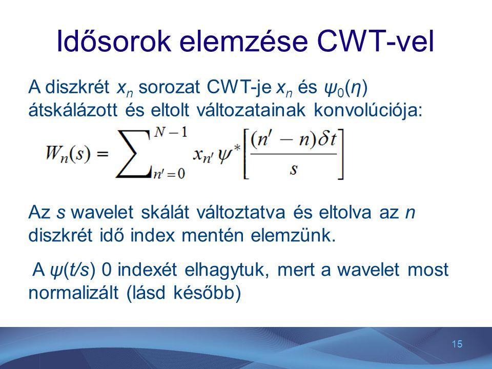 15 Idősorok elemzése CWT-vel A diszkrét x n sorozat CWT-je x n és ψ 0 (η) átskálázott és eltolt változatainak konvolúciója: Az s wavelet skálát változtatva és eltolva az n diszkrét idő index mentén elemzünk.