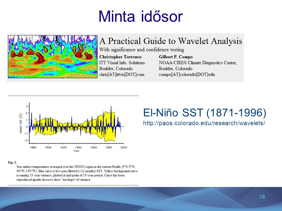 16 Minta idősor El-Niño SST (1871-1996) http://paos.colorado.edu/research/wavelets/