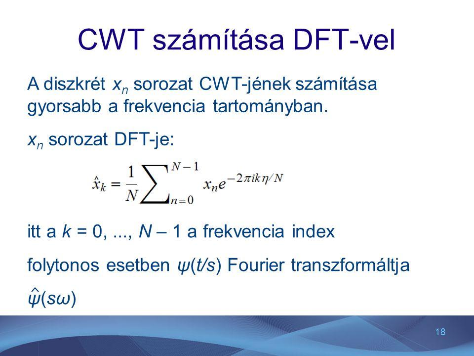 18 CWT számítása DFT-vel A diszkrét x n sorozat CWT-jének számítása gyorsabb a frekvencia tartományban. x n sorozat DFT-je: itt a k = 0,..., N – 1 a f