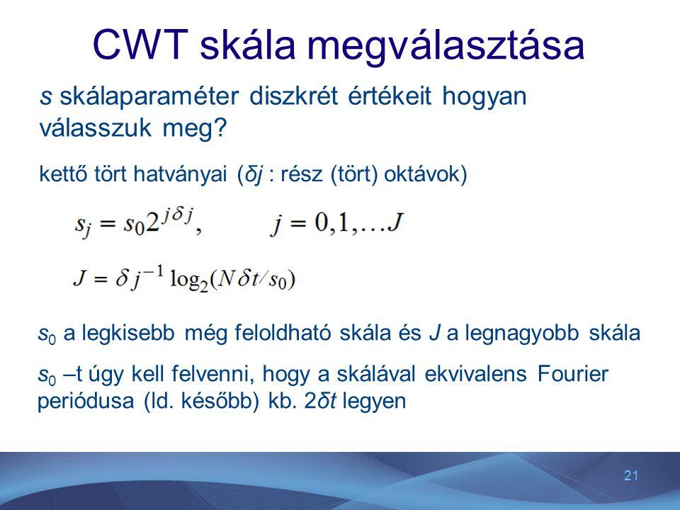 21 CWT skála megválasztása s skálaparaméter diszkrét értékeit hogyan válasszuk meg? kettő tört hatványai (δj : rész (tört) oktávok) s 0 a legkisebb mé